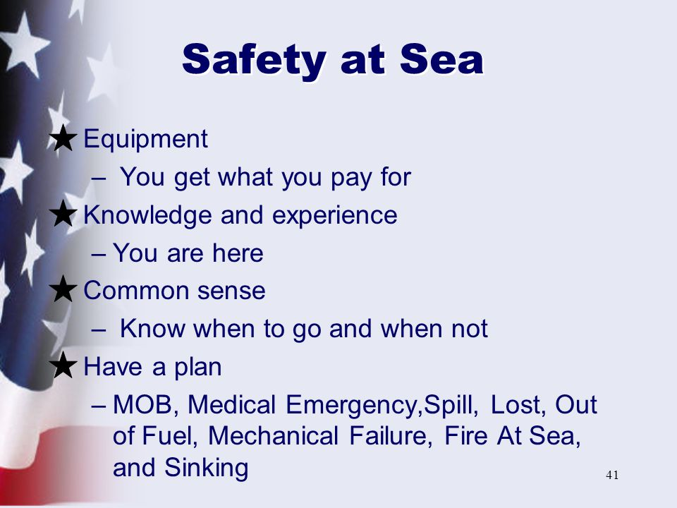 Safety at Sea Equipment You get what you pay for