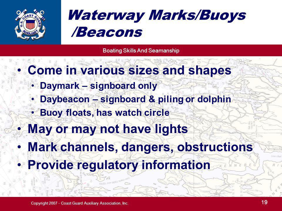 Waterway Marks/Buoys /Beacons