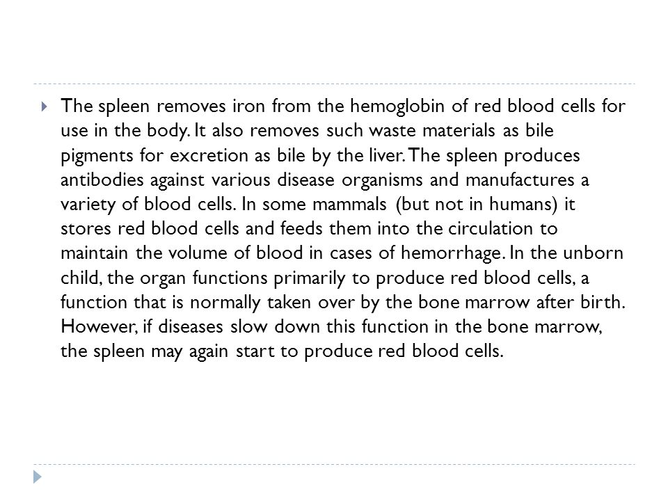 The spleen removes iron from the hemoglobin of red blood cells for use in the body.