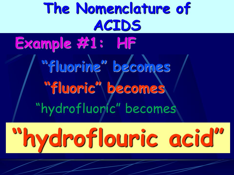 hydroflouric acid The Nomenclature of ACIDS Example #1: HF