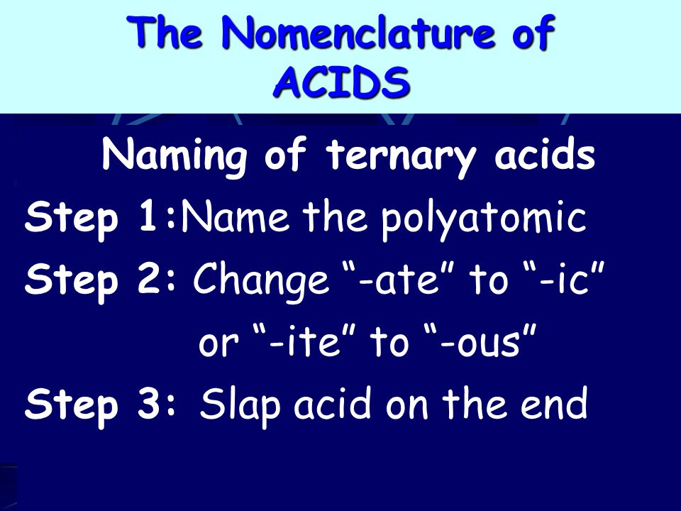 Naming of ternary acids