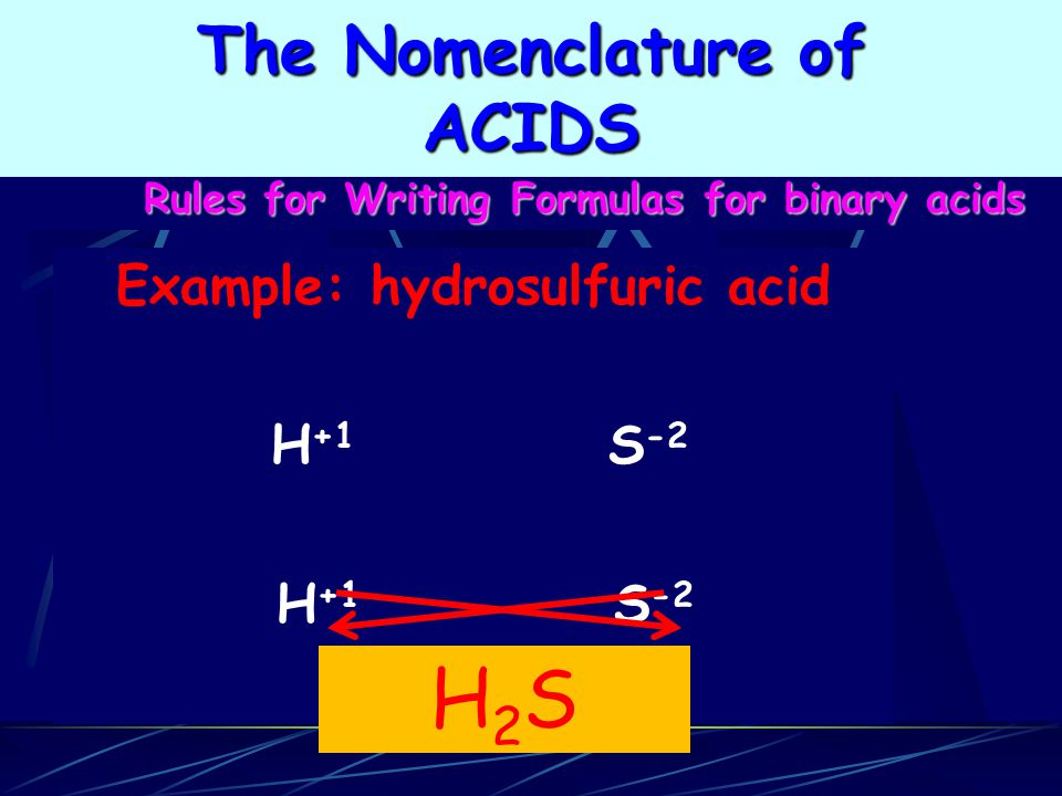 H2S The Nomenclature of ACIDS Example: hydrosulfuric acid H+1 S-2
