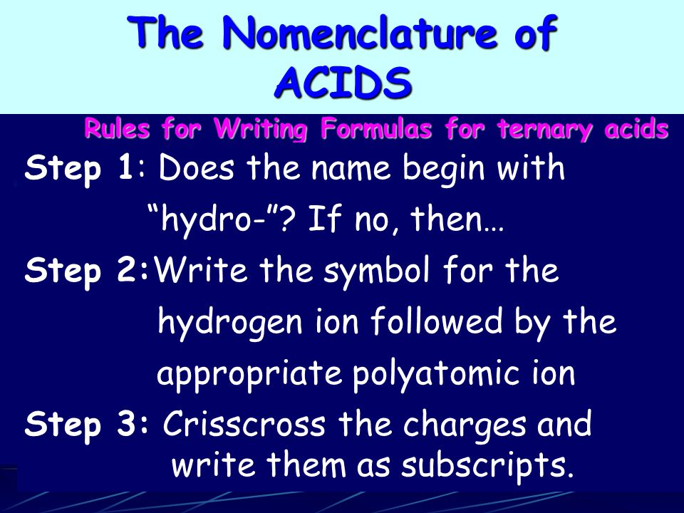 Rules for Writing Formulas for ternary acids