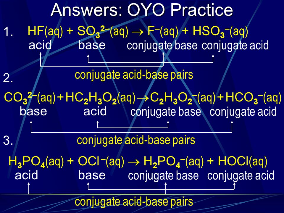 Answers: OYO Practice 1. HF(aq) + SO32–(aq)  F–(aq) + HSO3–(aq) acid