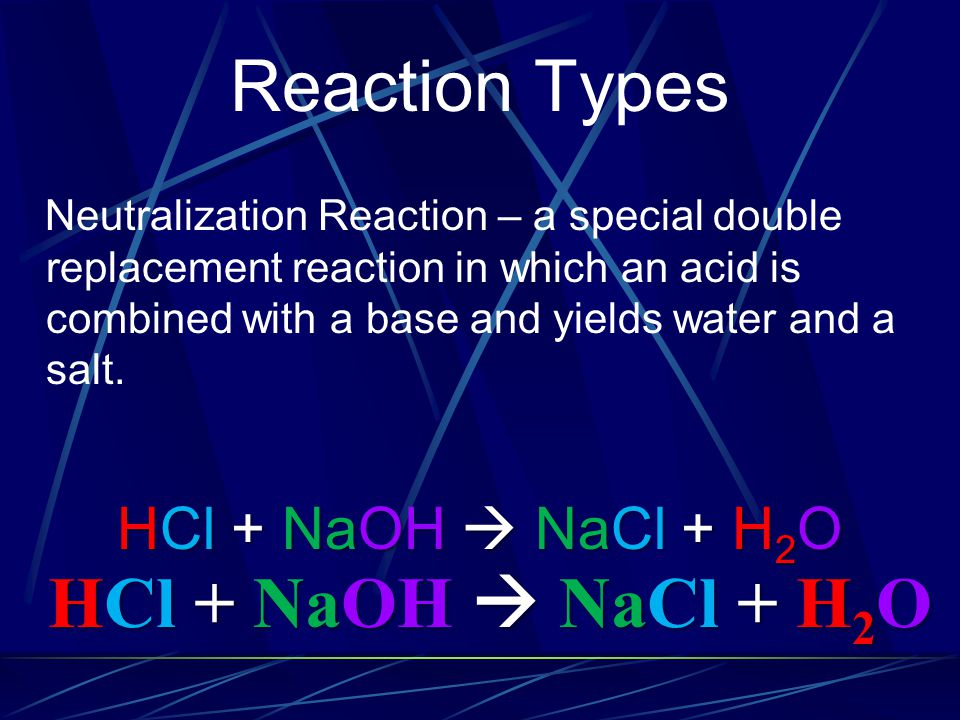 Reaction Types HCl + NaOH  NaCl + H2O HCl + NaOH  NaCl + H2O