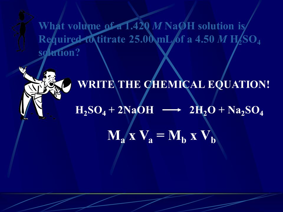 Ma x Va = Mb x Vb What volume of a 1.420 M NaOH solution is