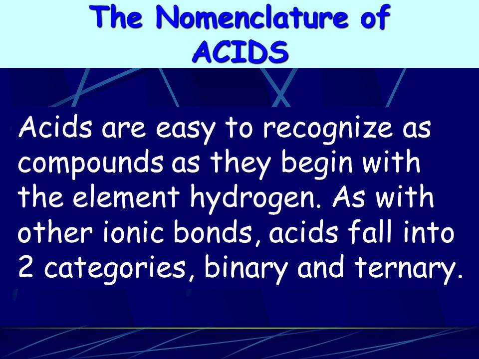 The Nomenclature of ACIDS.