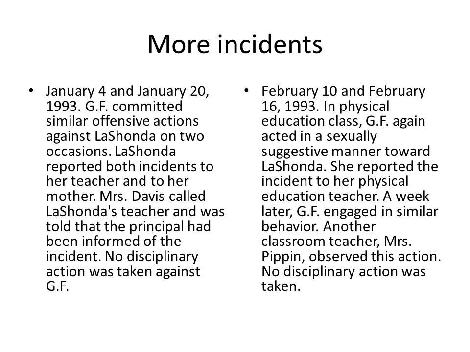 More incidents