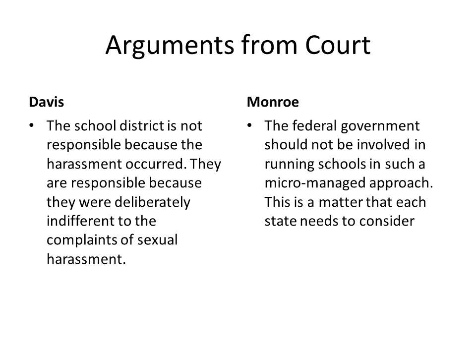 Arguments from Court Davis Monroe