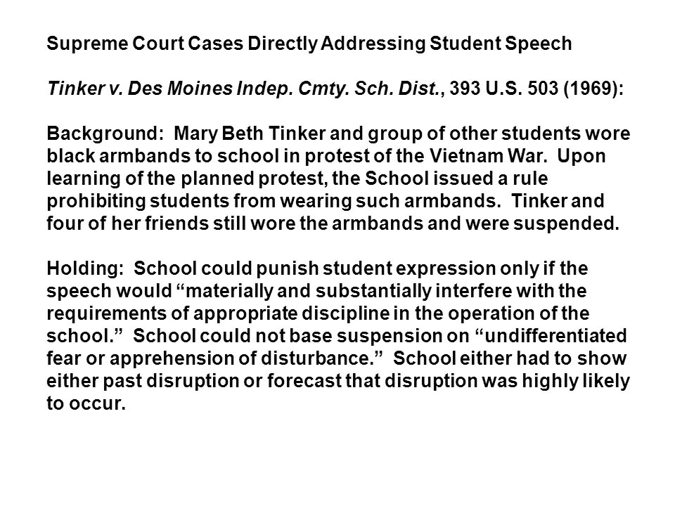 Supreme Court Cases Directly Addressing Student Speech