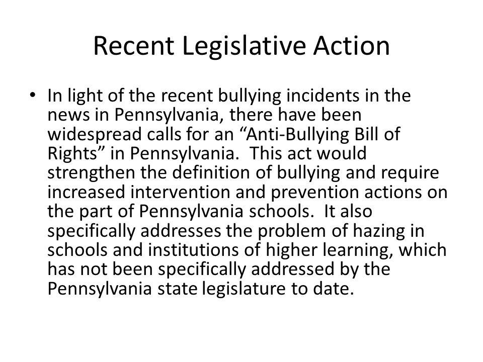 Recent Legislative Action