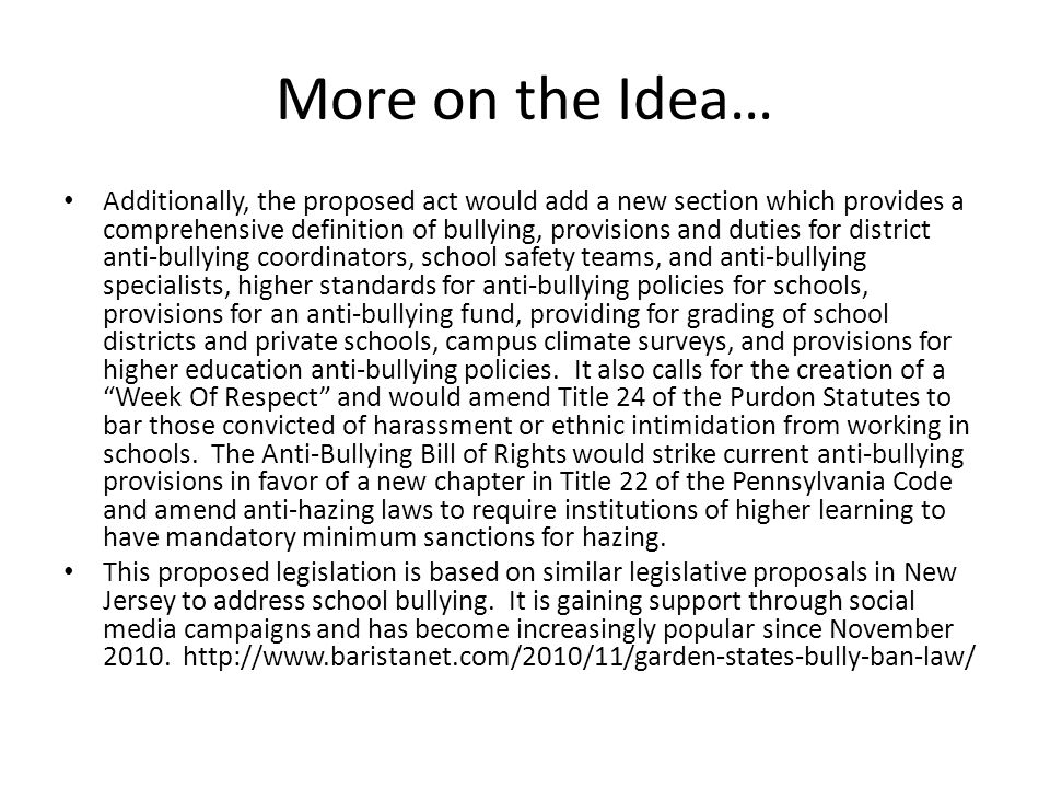 More on the Idea…
