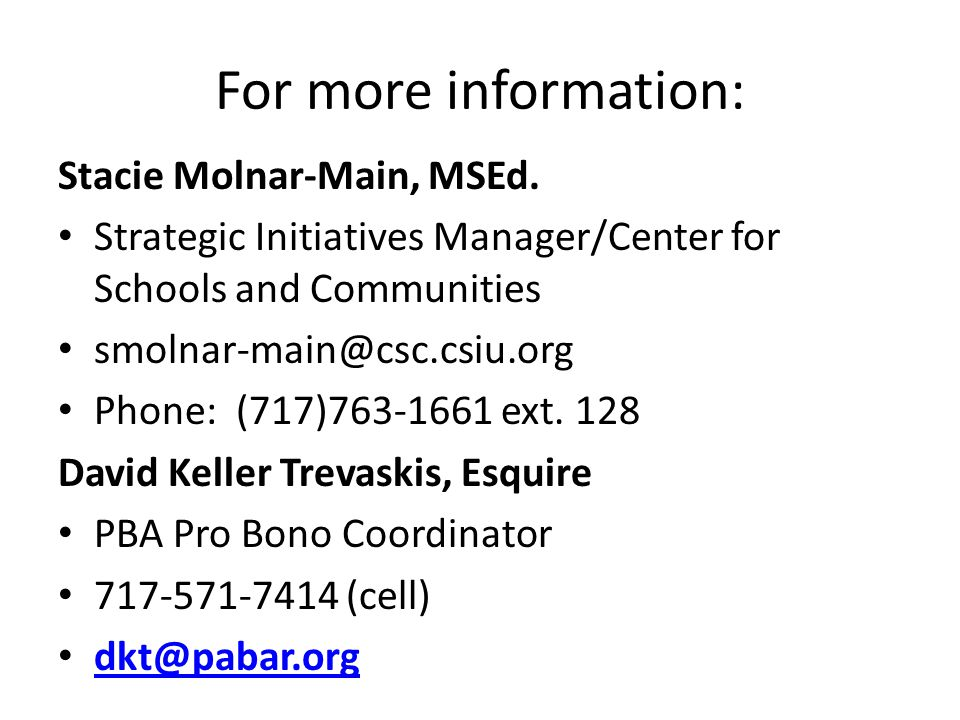 For more information: Stacie Molnar-Main, MSEd.