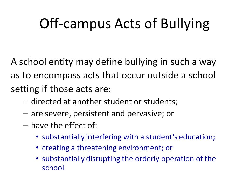 Off-campus Acts of Bullying