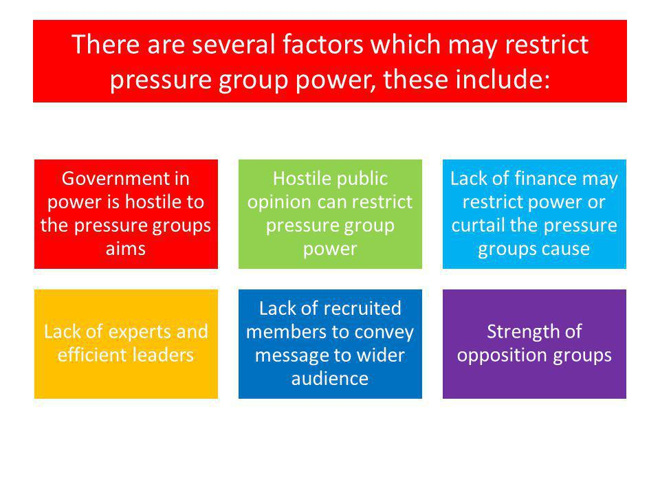 There are several factors which may restrict pressure group power, these include: