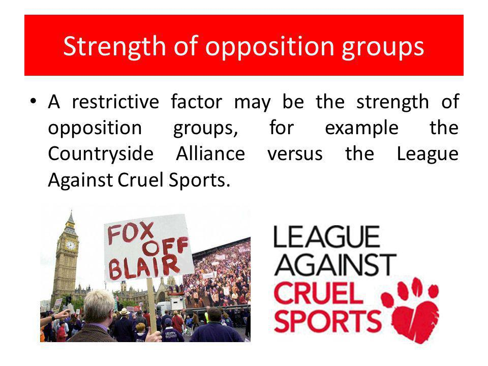 Strength of opposition groups