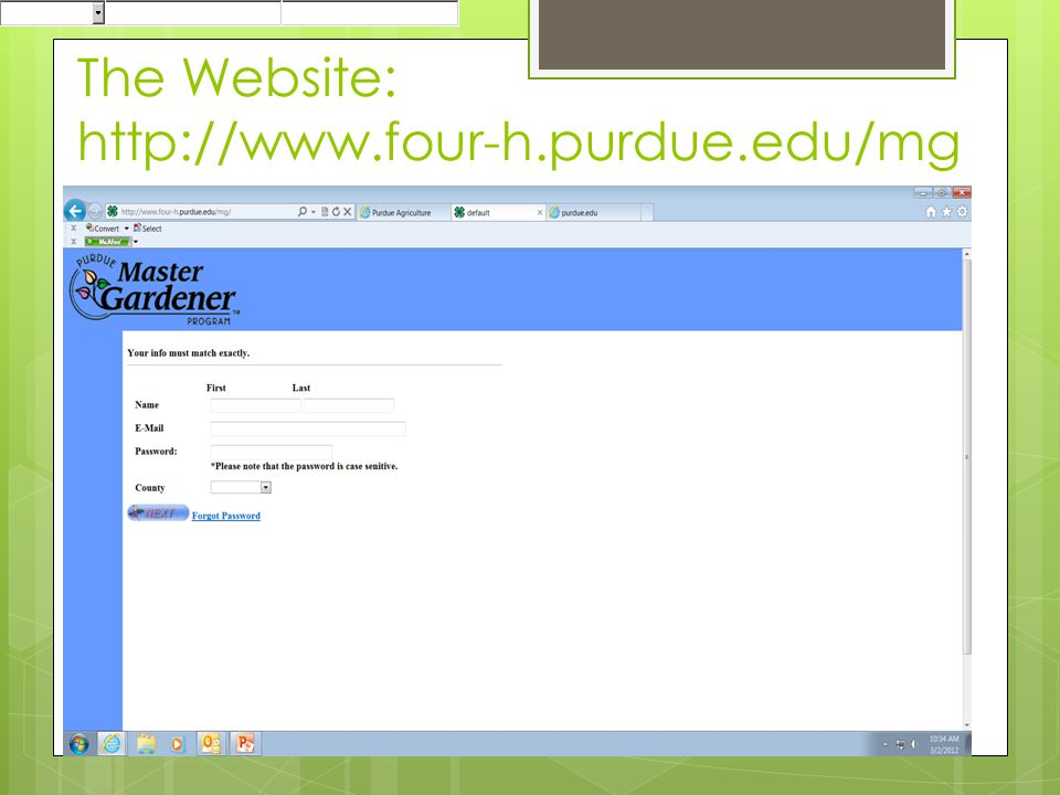The Website: http://www.four-h.purdue.edu/mg