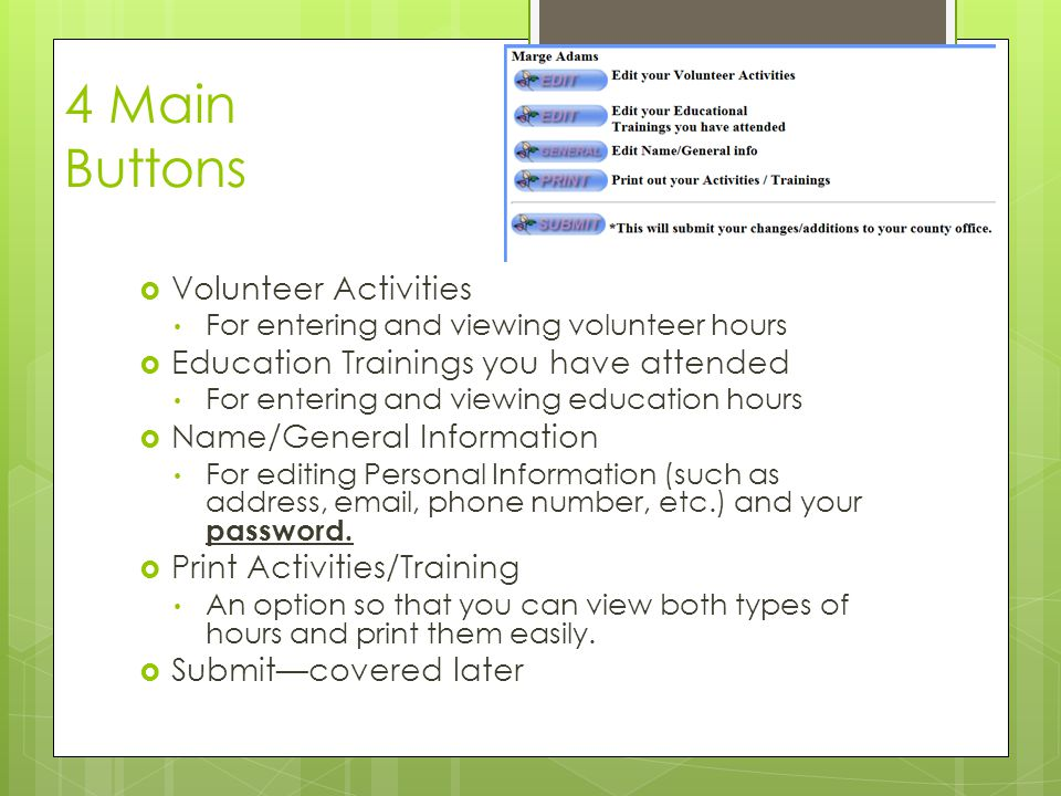 4 Main Buttons Volunteer Activities