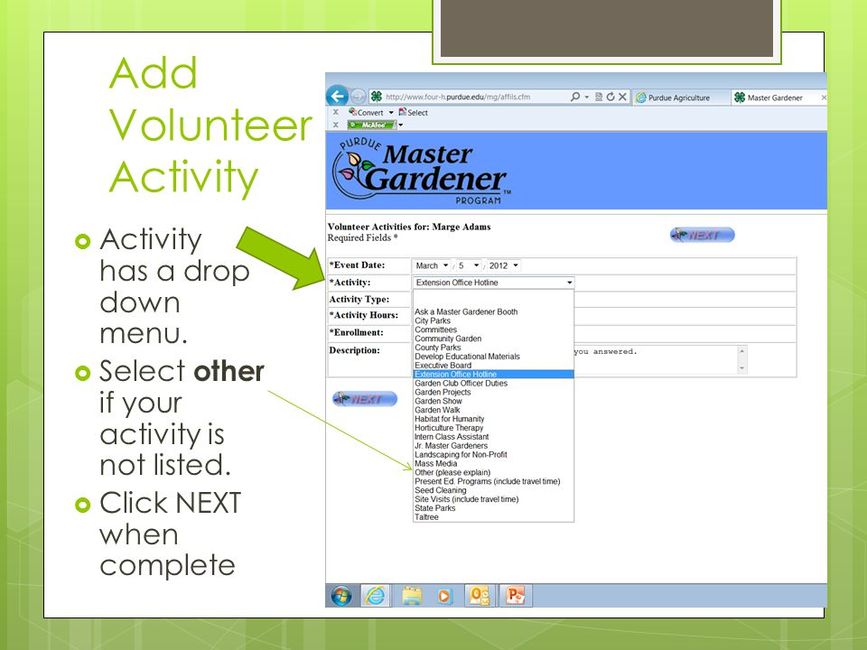 Add Volunteer Activity