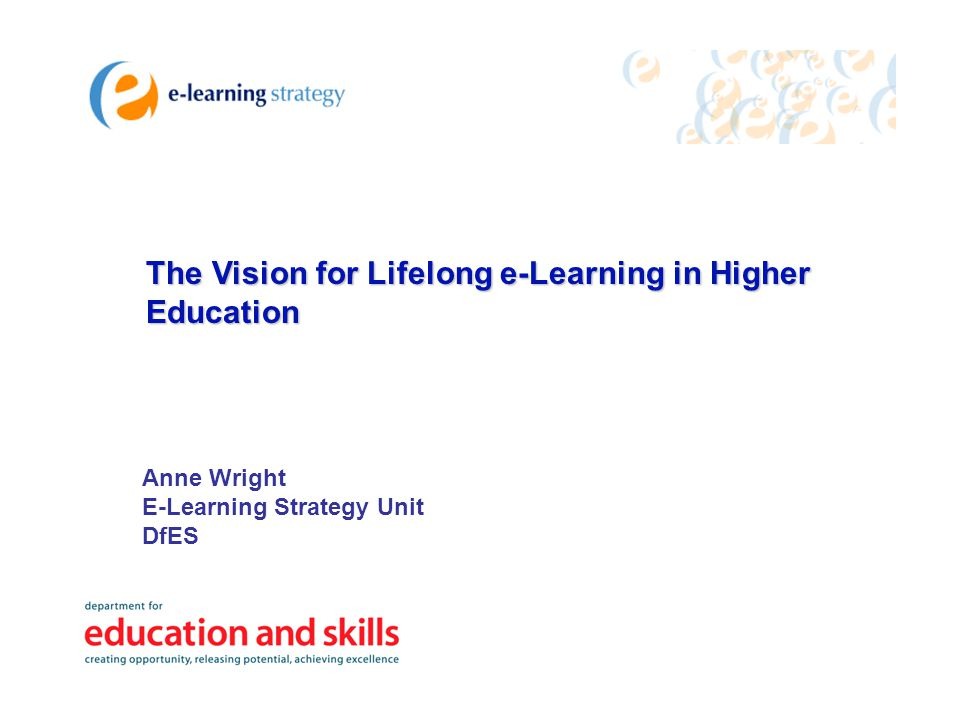 The Vision for Lifelong e-Learning in Higher Education