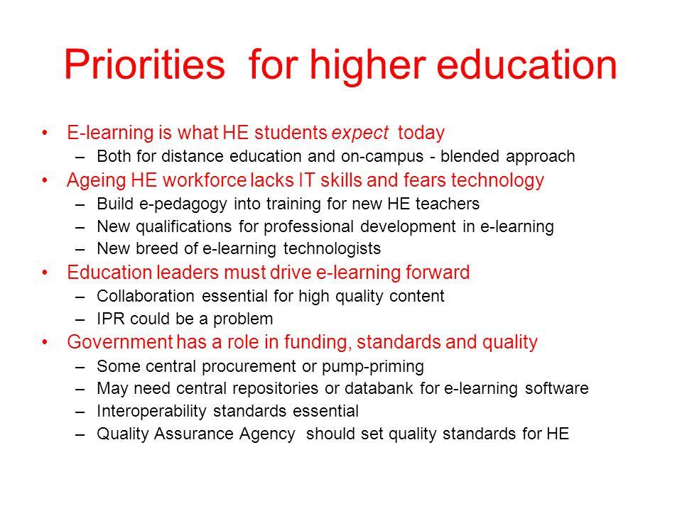 Priorities for higher education
