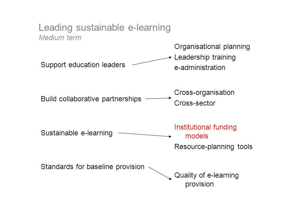 Leading sustainable e-learning