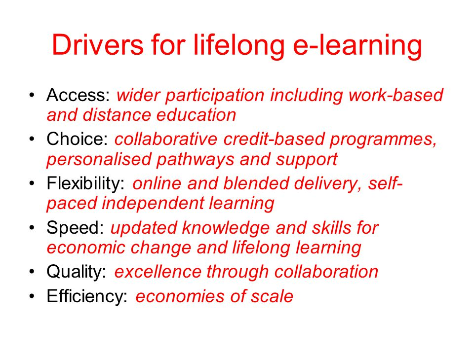 Drivers for lifelong e-learning