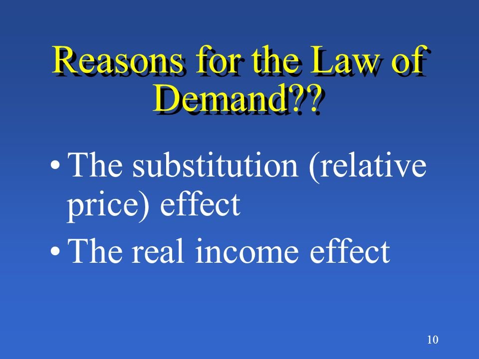 Reasons for the Law of Demand