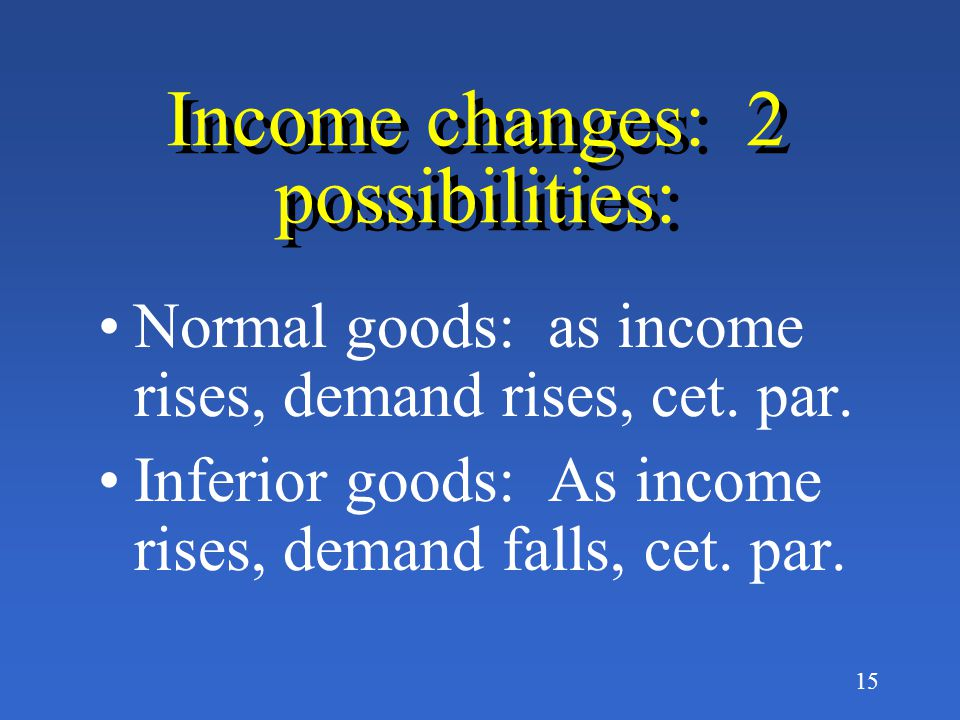 Income changes: 2 possibilities: