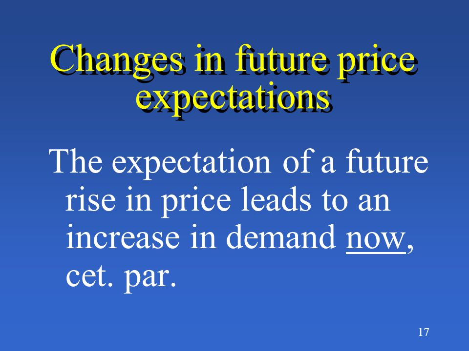 Changes in future price expectations