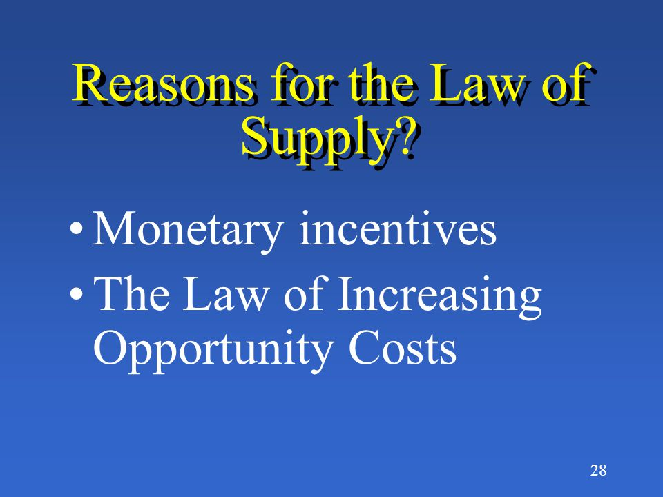 Reasons for the Law of Supply