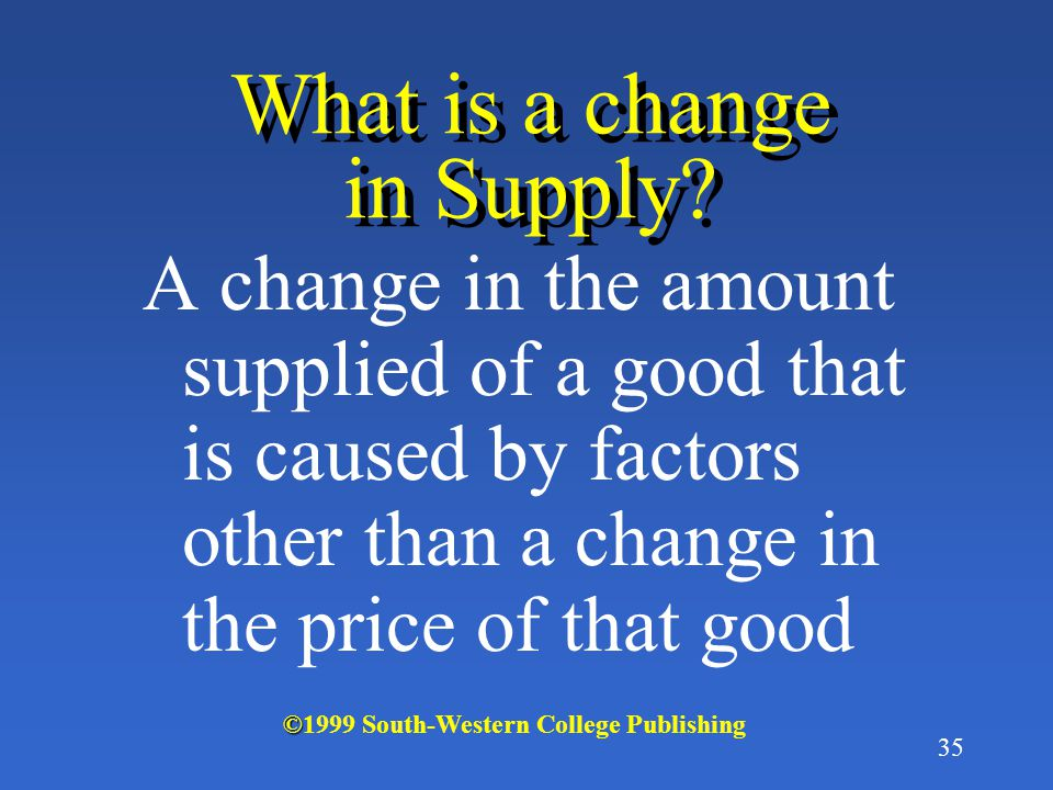 What is a change in Supply