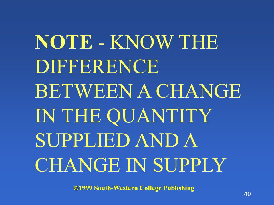 NOTE - KNOW THE DIFFERENCE BETWEEN A CHANGE IN THE QUANTITY SUPPLIED AND A CHANGE IN SUPPLY