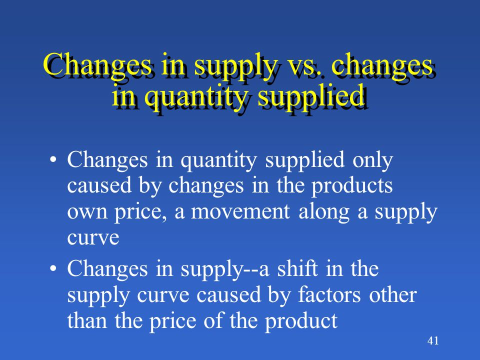 Changes in supply vs. changes in quantity supplied