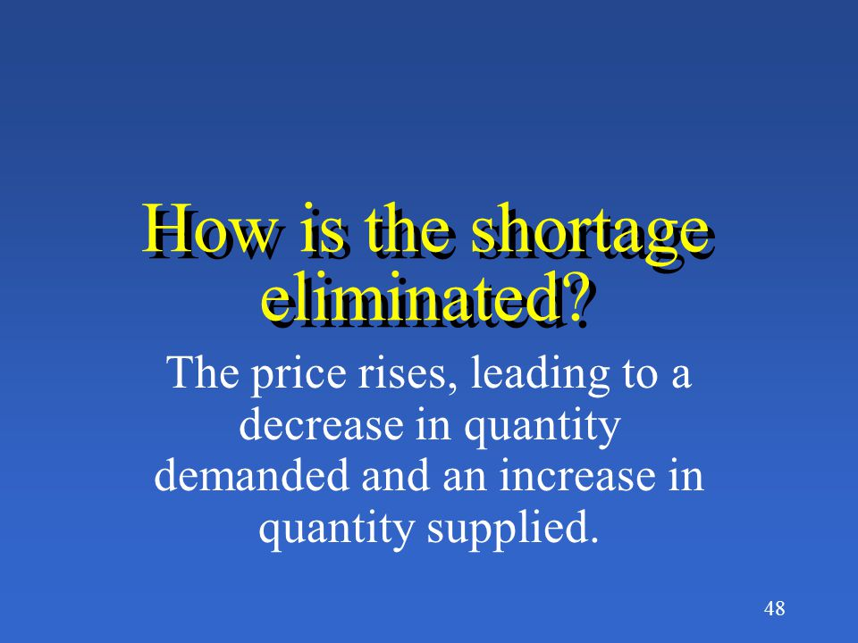 How is the shortage eliminated