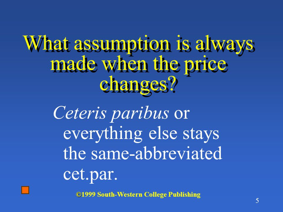 What assumption is always made when the price changes