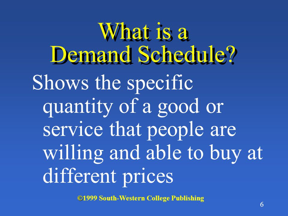 What is a Demand Schedule