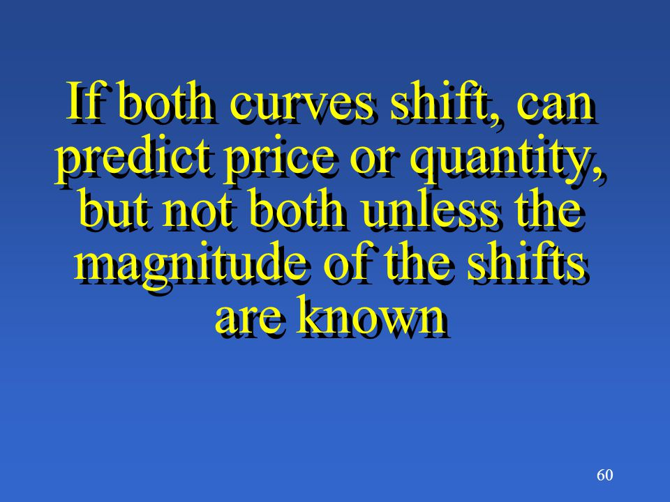 If both curves shift, can predict price or quantity, but not both unless the magnitude of the shifts are known