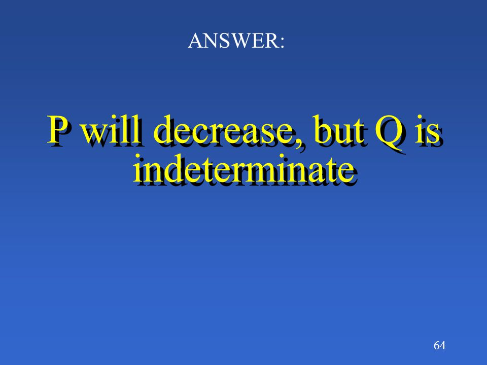 P will decrease, but Q is indeterminate