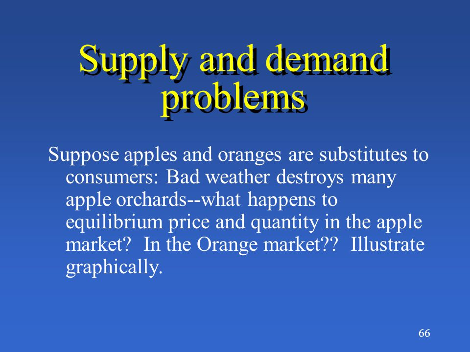 Supply and demand problems