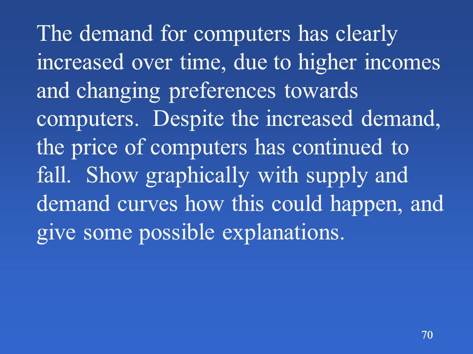 The demand for computers has clearly increased over time, due to higher incomes and changing preferences towards computers.