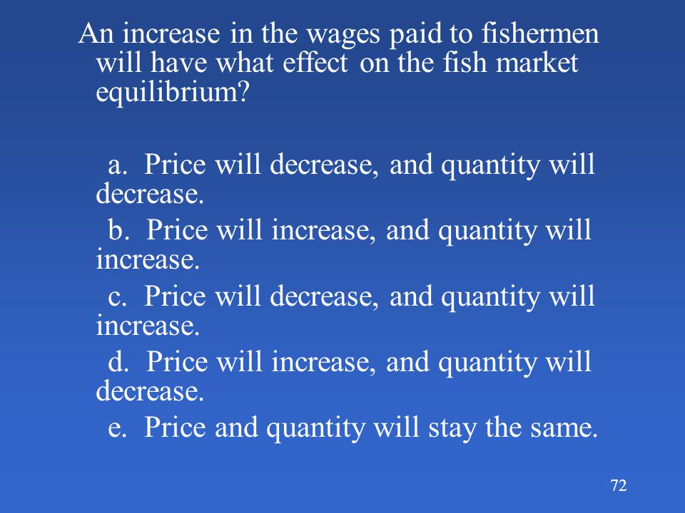 An increase in the wages paid to fishermen will have what effect on the fish market equilibrium
