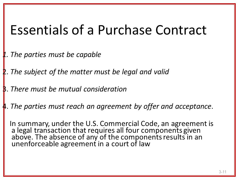 Essentials of a Purchase Contract