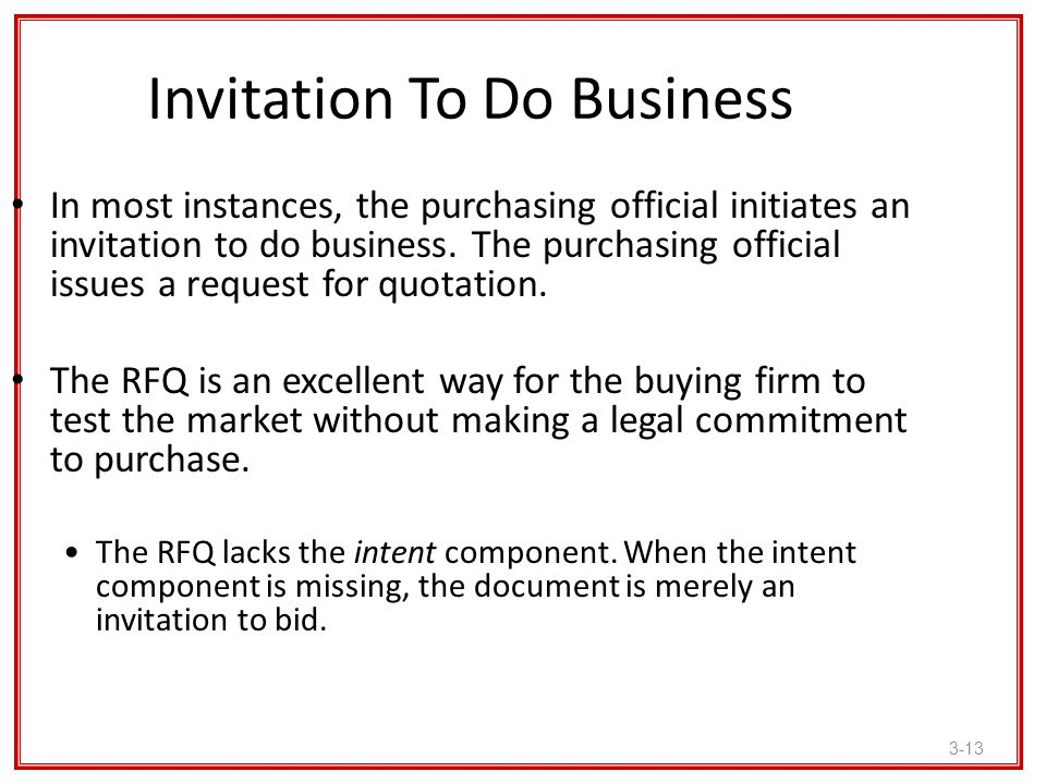 Invitation To Do Business