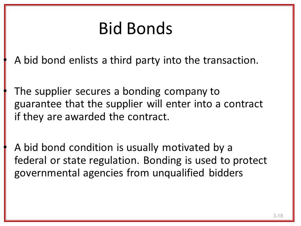 Bid Bonds A bid bond enlists a third party into the transaction.
