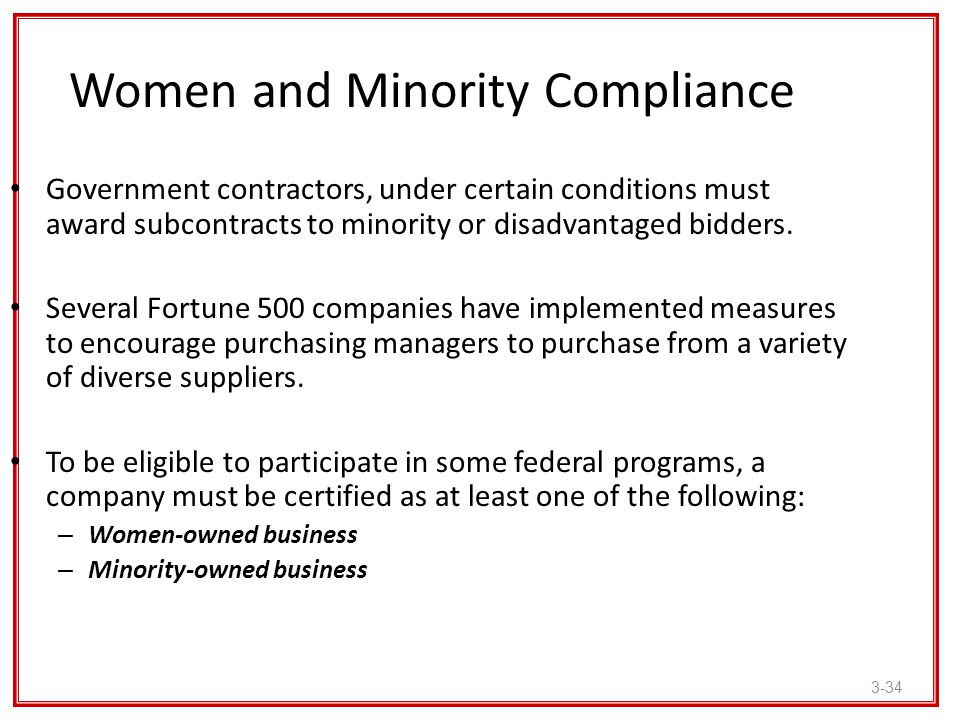Women and Minority Compliance