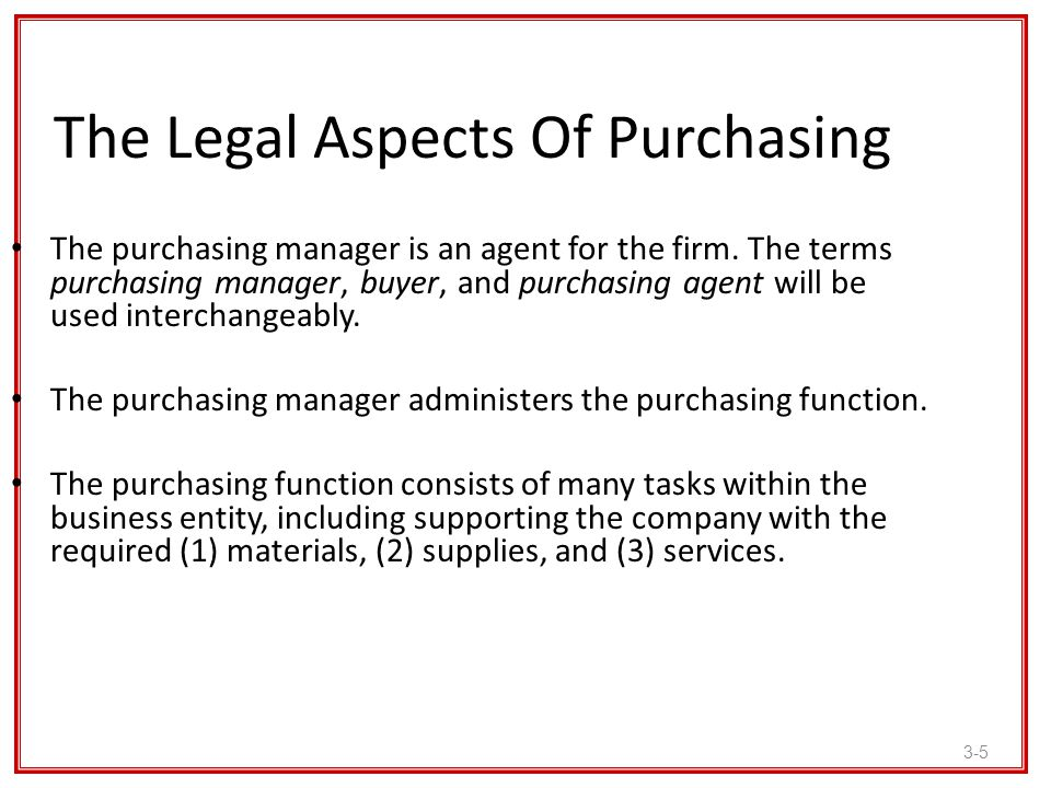 The Legal Aspects Of Purchasing