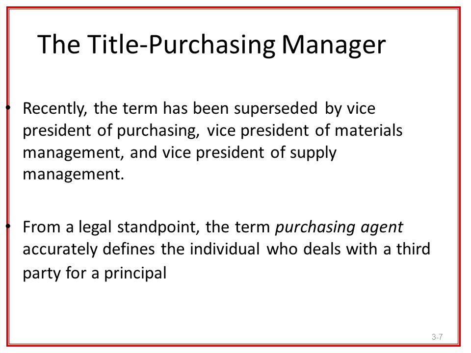 The Title-Purchasing Manager