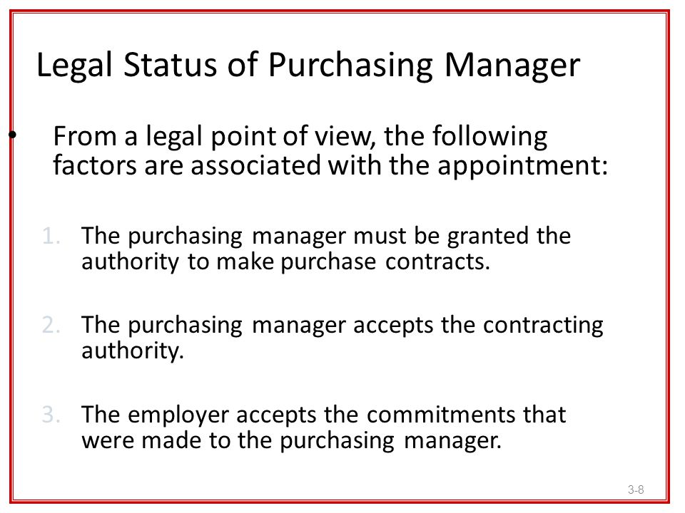 Legal Status of Purchasing Manager