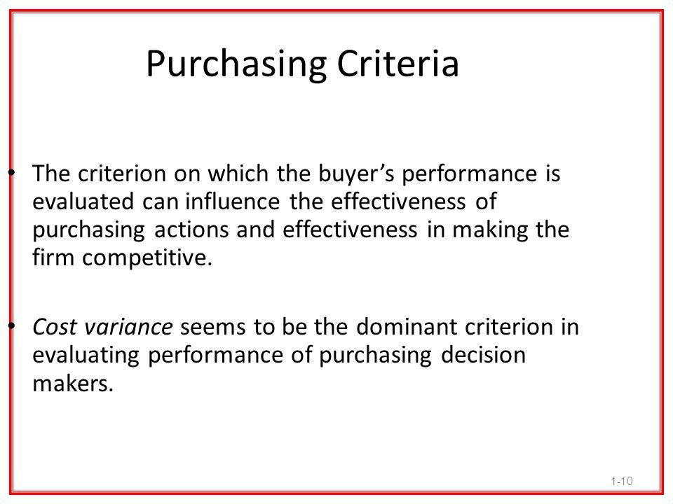 Purchasing Criteria